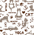 Seamless pattern with cat doing yoga position vector image