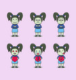 set cute girls characters vector image