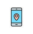 smartphone with destination mark gps navigations vector image