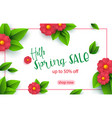 spring sale banner template with paper cut flower vector image vector image