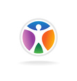 standing man in color circle logo template vector image vector image