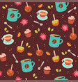tea and coffee cute seamless pattern vector image