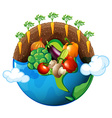 Vegetables growing around the world vector image vector image