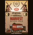 vintage colored agricultural harvesting poster vector image vector image