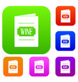 wine list set color collection vector image vector image