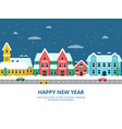 winter urban landscape snowy roof city buildings vector image vector image