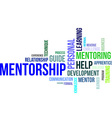word cloud mentorship vector image vector image