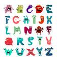 cartoon flat monsters alphabet big set icons vector image