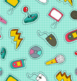 Retro technology patch icon seamless pattern vector image