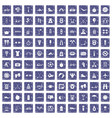 100 active life icons set grunge sapphire vector image vector image