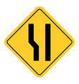 additional lane ahead road sign vector image vector image