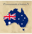 australia map with flag isolated on vintage vector image vector image