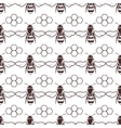 Bee and honey seamless background vector image