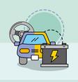 car service maintenance painting steering wheel vector image