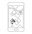 cellphone showing map in black and white vector image vector image