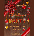 christmas party design poster with bow vector image vector image