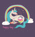 cute cartoon girl with unicorn vector image vector image