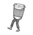 disposable cup of coffee walks on its feet sketch vector image