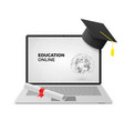 education online concept laptop with graduation vector image vector image