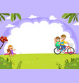 father and mother cycling with daughter crying vector image vector image