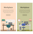 flat design workspace or home workplace background vector image vector image