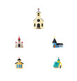 flat icon building set of catholic architecture vector image vector image