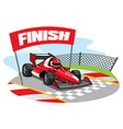 formula racing car reach the finish line vector image vector image