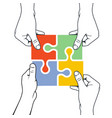 four hands joining puzzle piece - association and vector image