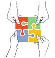 four hands joining puzzle piece - association