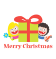 girl and boy merry christmas gift vector image vector image