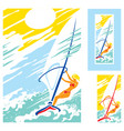 girl sea sun windsurfing vector image vector image