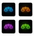 Glowing neon scales justice icon isolated on