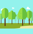 Green landscape with forest flat design