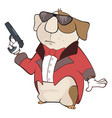 guinea pig gangster cartoon vector image