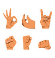 hands gestures in six icons on white background vector image
