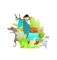 humour kids animals forest or woodland funny vector image