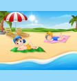 kids sunbathing on the beach mat vector image