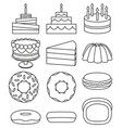 line art black and white 12 dessert icon set vector image vector image