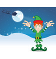 merry christmas elf vector image vector image