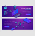 money transfer operation and online banking vector image vector image