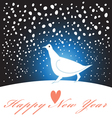 new year greeting card with a white bird vector image vector image