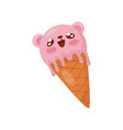 pink ice cream in waffle cone cute kawaii food vector image vector image