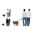 realistic colored of two men walks a vector image