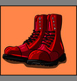 red boots with black laces fashion c vector image vector image