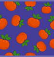 seamless pattern mandarin on purple background vector image vector image