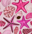 seamless pattern seashells and starfish vector image