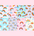 seamless rainbow pattern stars clouds vector image vector image