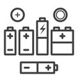 set of black outline icons of different vector image vector image