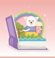 sheep with pop corn book rainbow fantasy fairy vector image