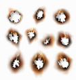 singed paper burnt round holes flame collection vector image